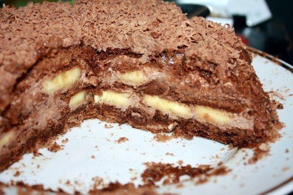шоколадно банановый кекс в мультиварке рецепт-хв4