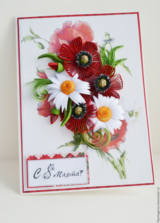 Красивые картинки, квиллинг открытка 8 марта стильный