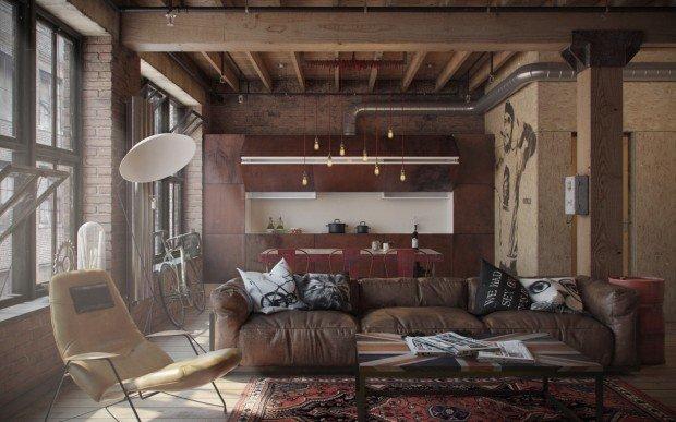 Уютный кожанный диван и деревянные балки