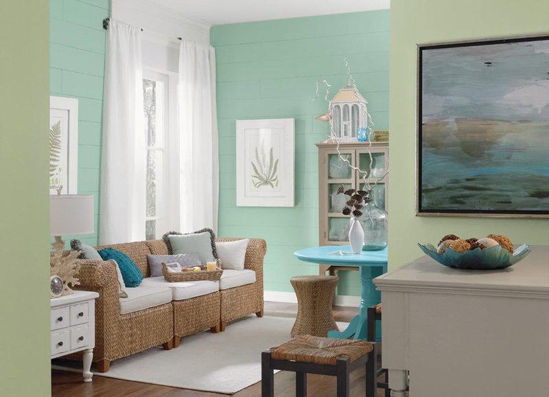 Выбрав свежий мятный в качестве основного цвета для детской, в комнате девочки комбинируем его с персиковым, абрикосовым, нежно-сиреневым, бледно-розовым, в комнате мальчика – с бирюзовым, светло-голубым.