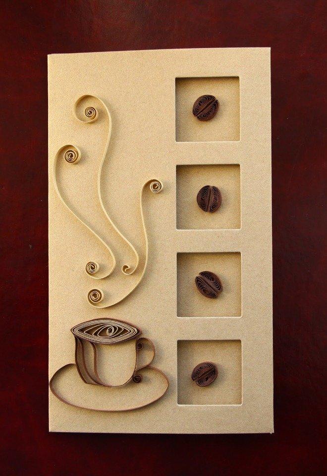 Открытка своими руками кофе