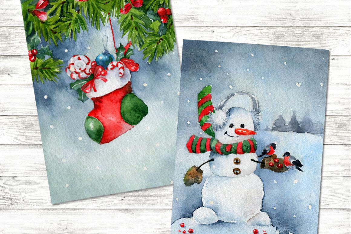 Рисуем открытки на новый год акварелью, надписями где
