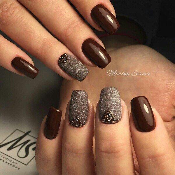Ногти кофейного цвета дизайн фото