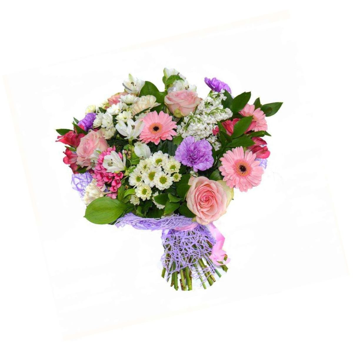 Букет, букет из роз и альстромерии и хризантемы