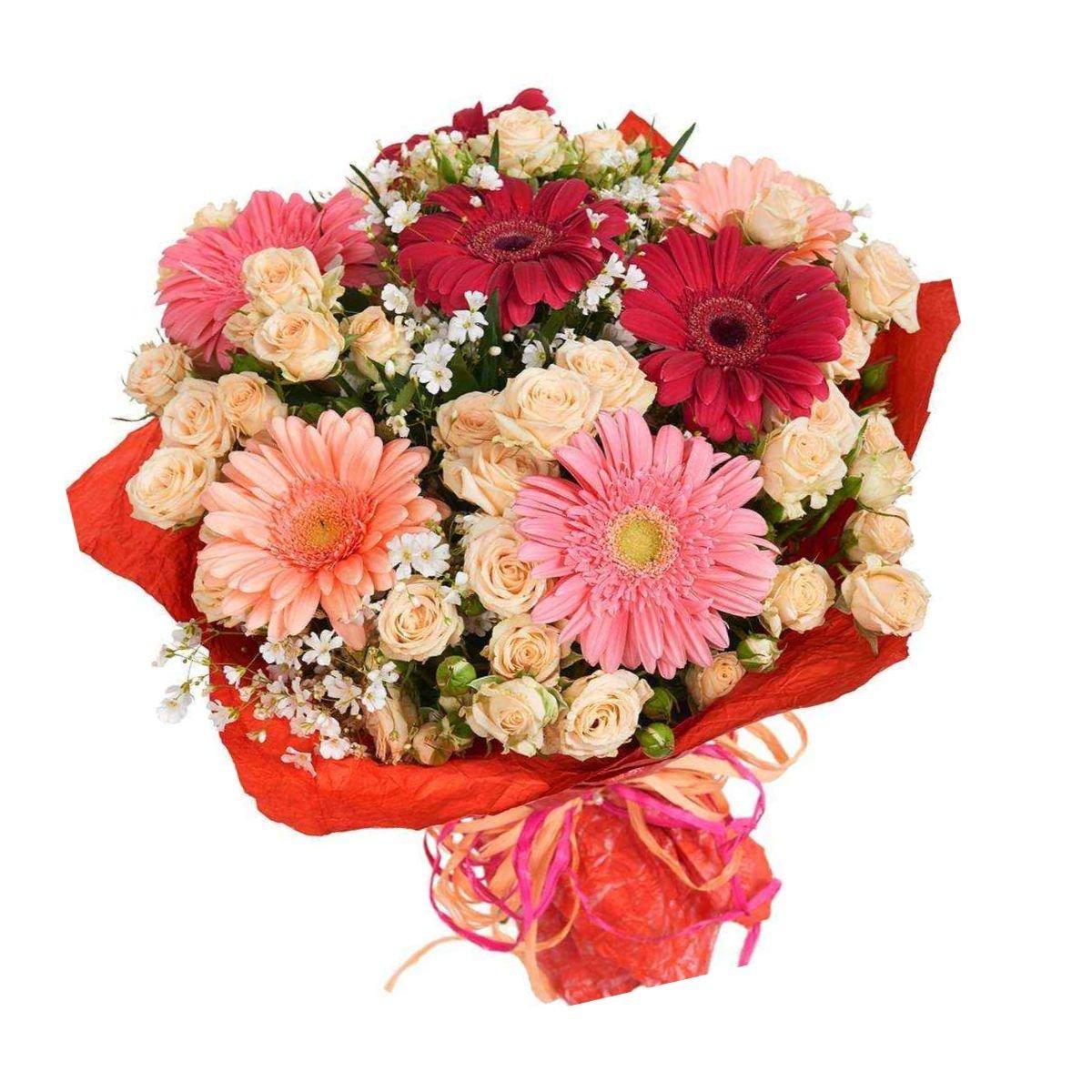 Собрать букет из гербер и кустовых роз, день