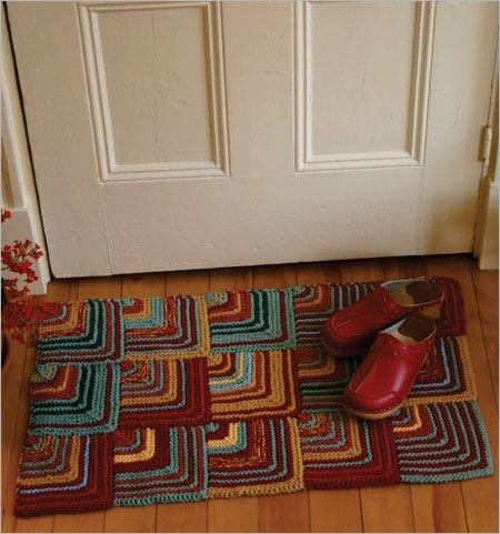 онлайн вязаный коврик у входной двери подбору