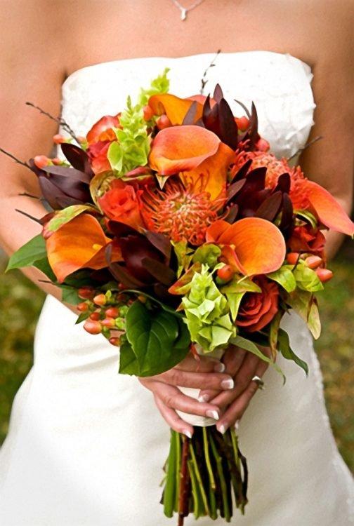 Букет невесты осень каллы