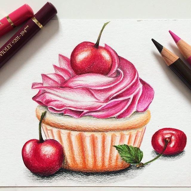 Красивые рисунки вкусняшек цветными карандашами