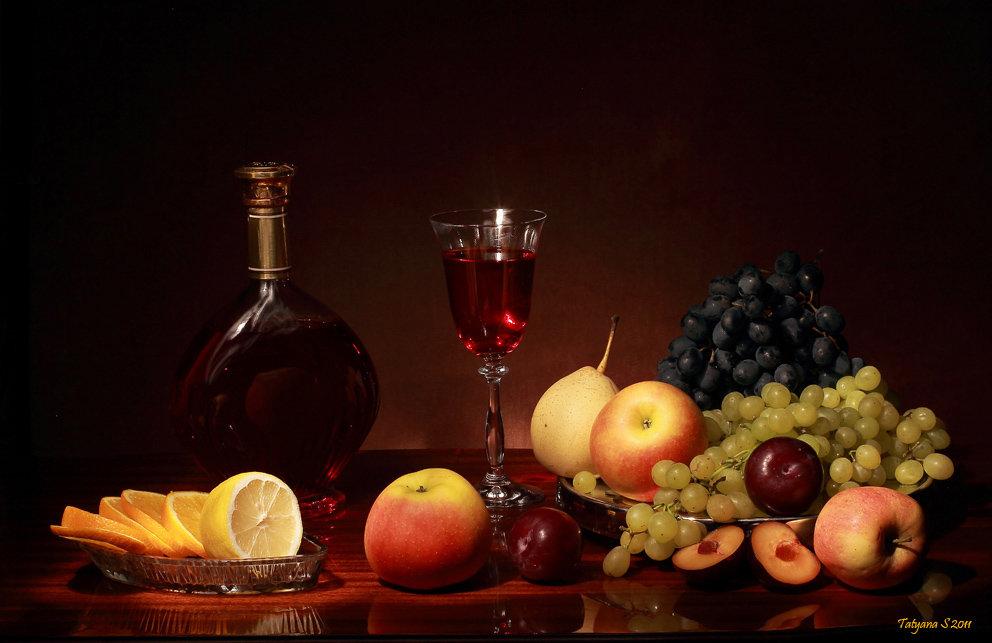 Картинках для, открытка с вином и фруктами