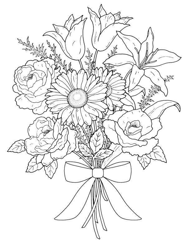 Раскраски с днем рождения цветы