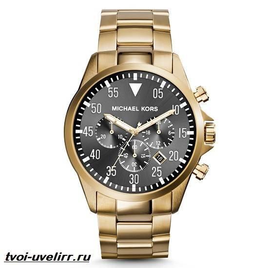 Золотистые часы с хронографом michael kors brecken mk - золотой.