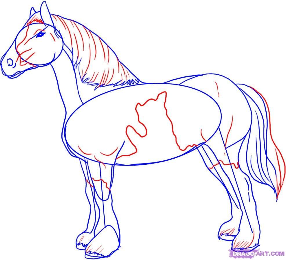 Рисунки коней карандашом легко и красиво поэтапно это