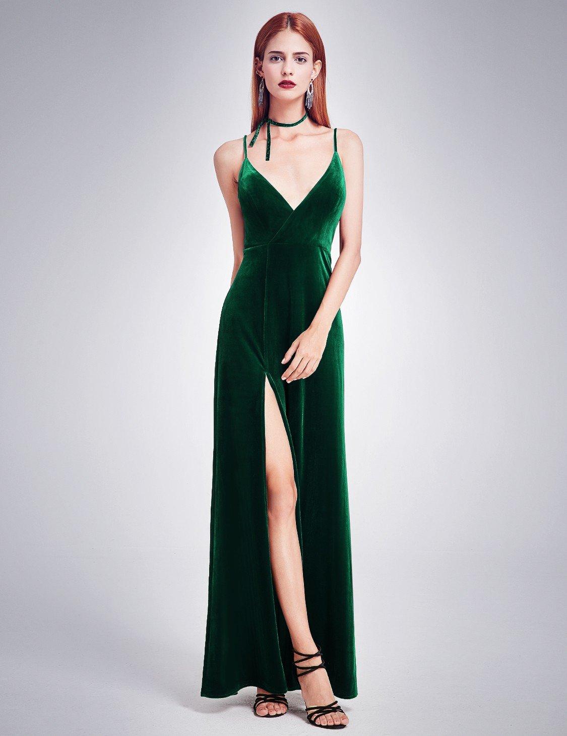 831093efda58c0a ... Тёмно-зелёное бархатное платье на тонких бретелях с разрезом Длинные  платья