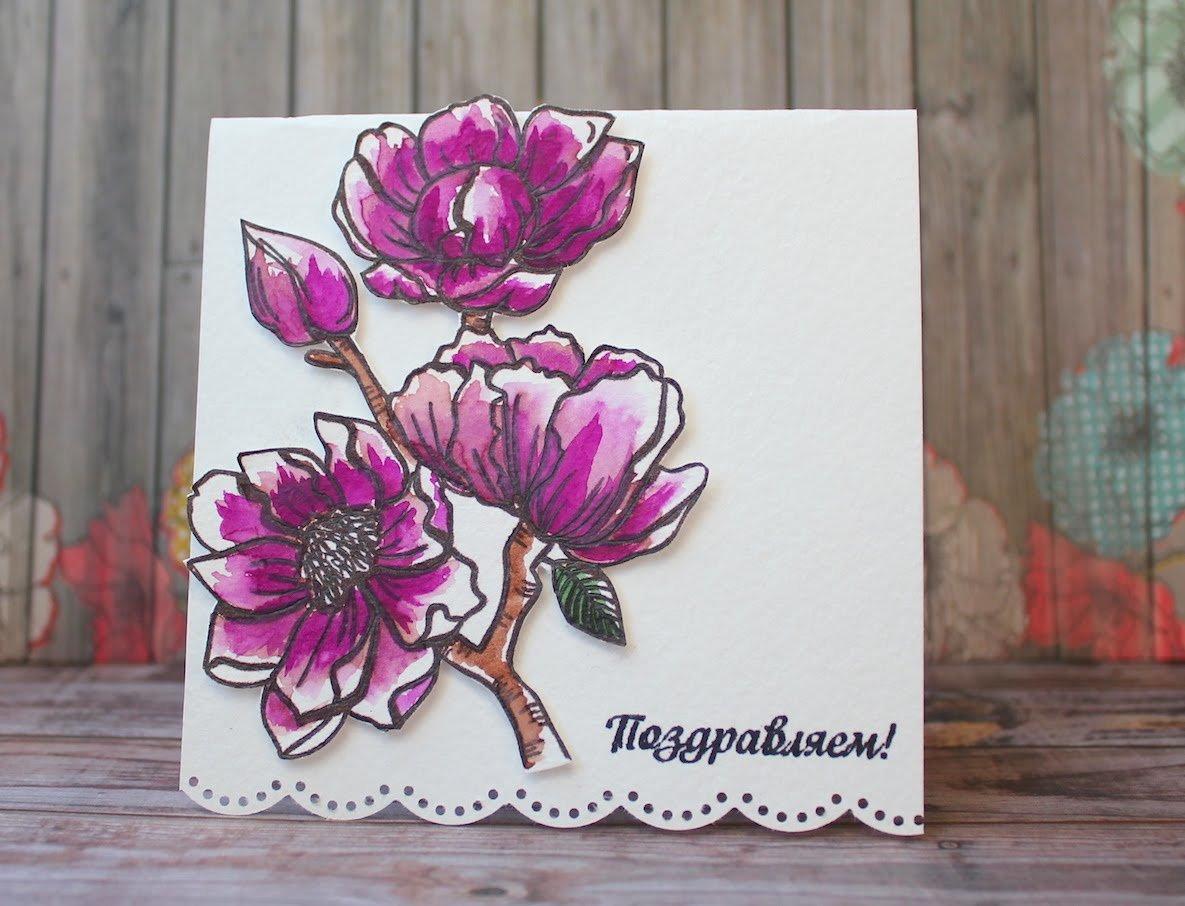 Рисуночек на открытку, бумажным цветком