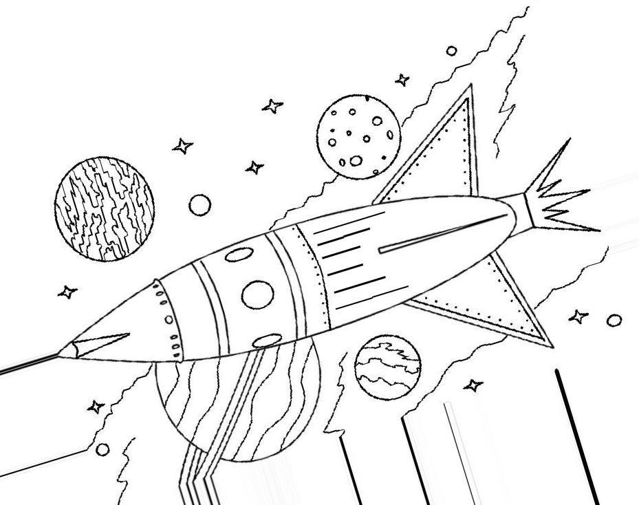 Для меня, день космонавтики картинка для срисовки