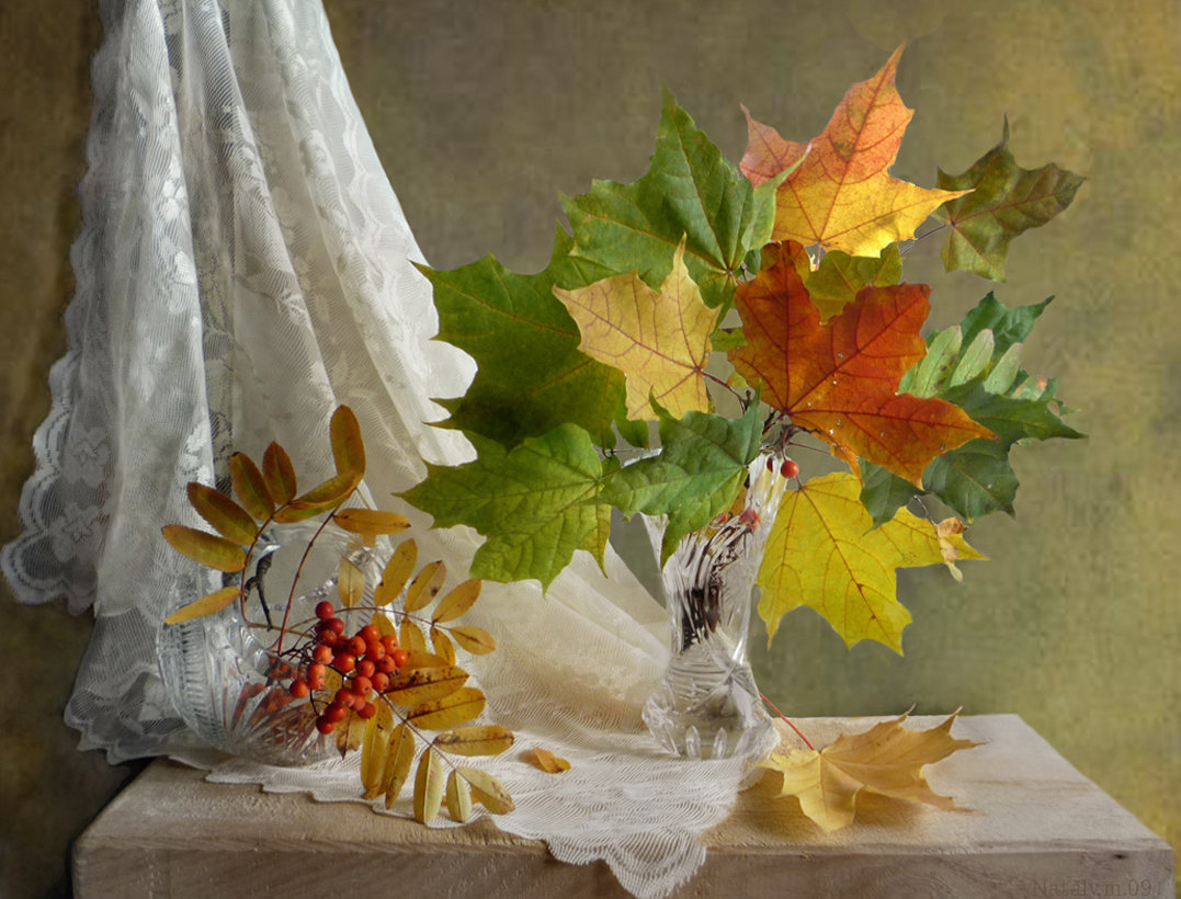 Картинки осенних листьев в вазе