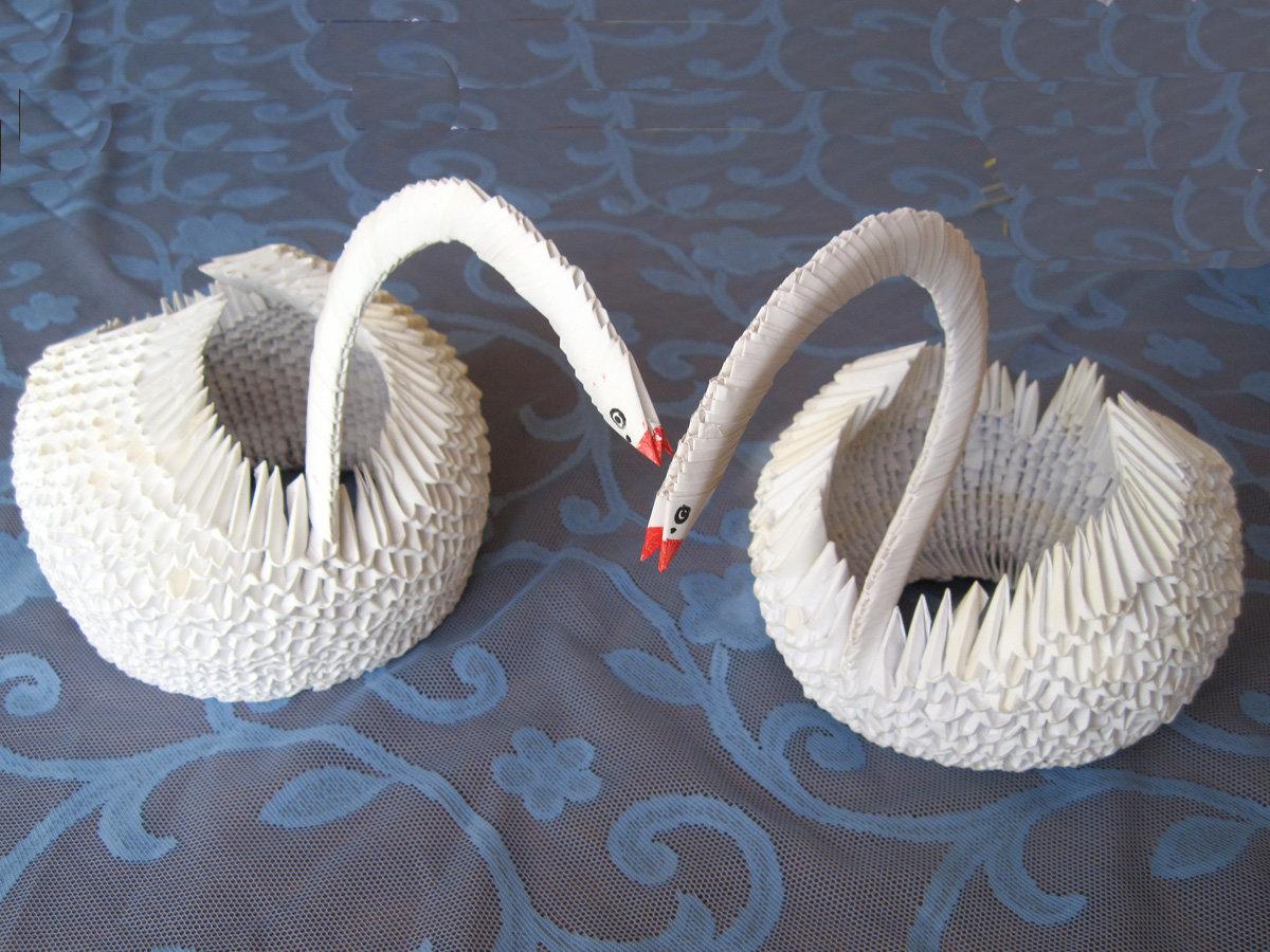 Сделать большого лебедя оригами поэтапно фото