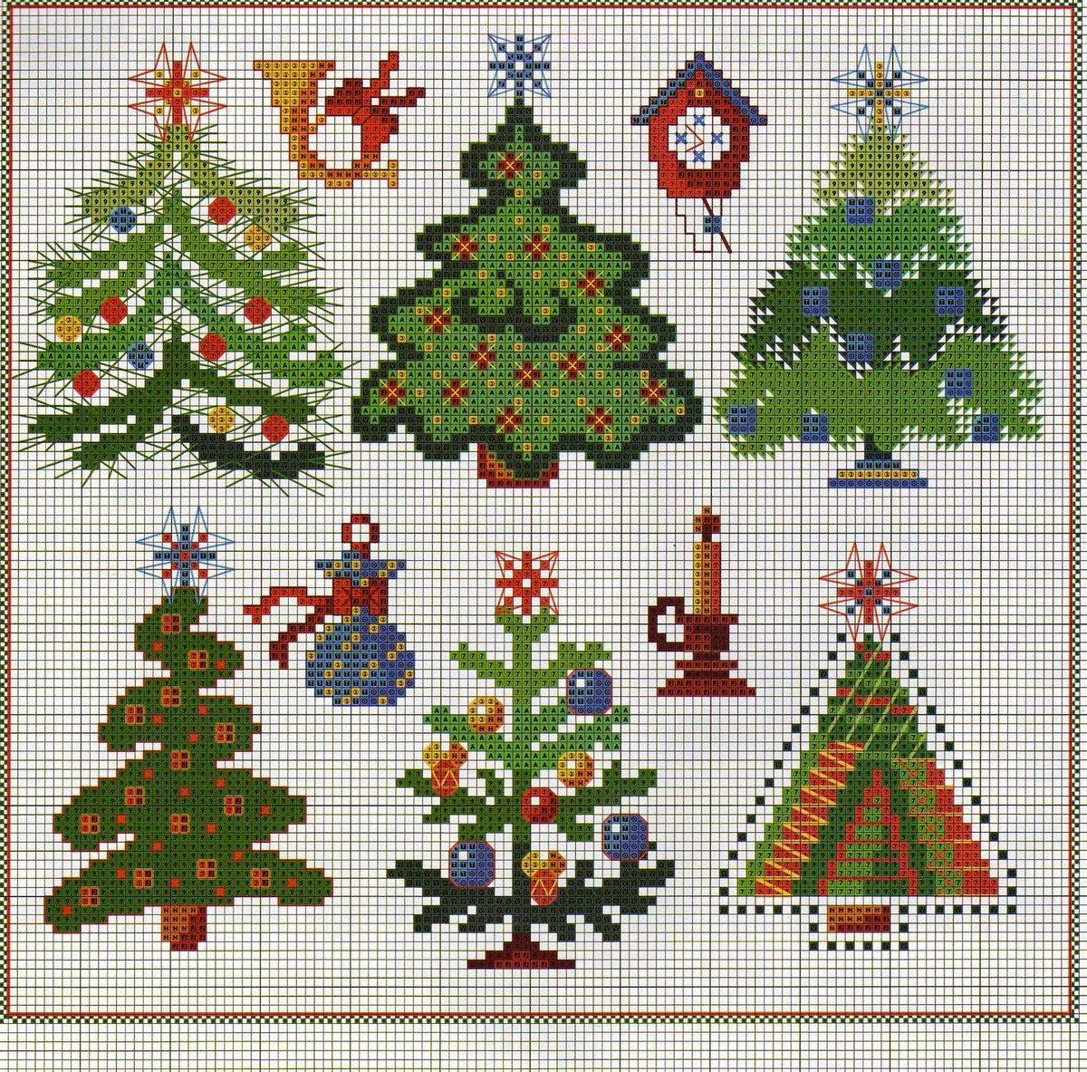 Вышивка крестом новогодних открыток и схема к ним
