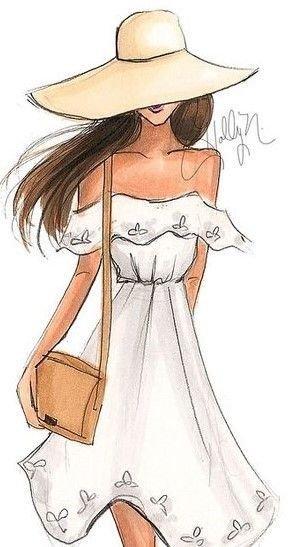 Красивые девушки в платьях картинки для срисовки