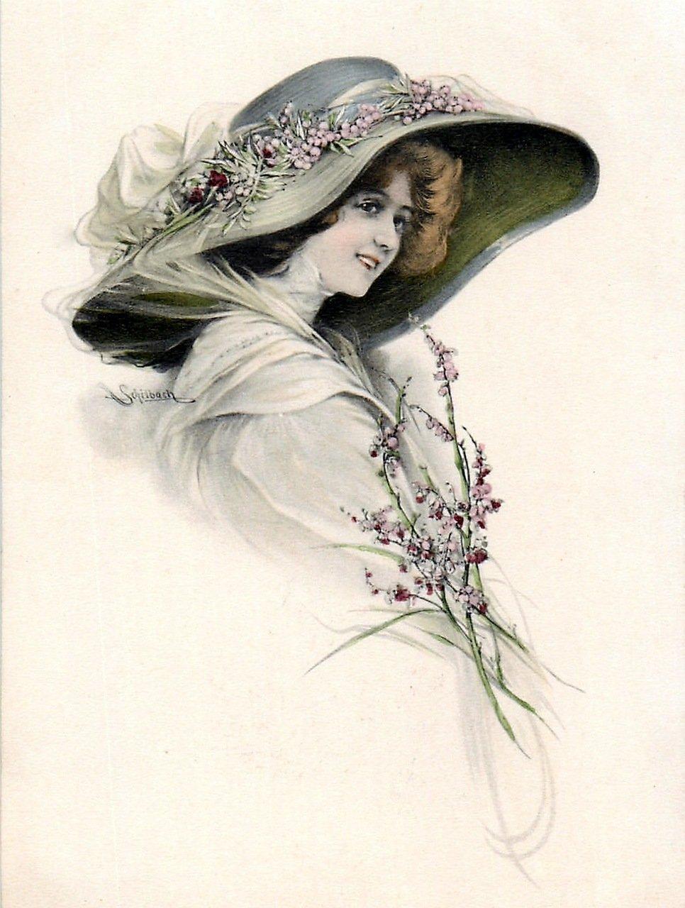 Рисованные открытки для женщин, открытку стиле