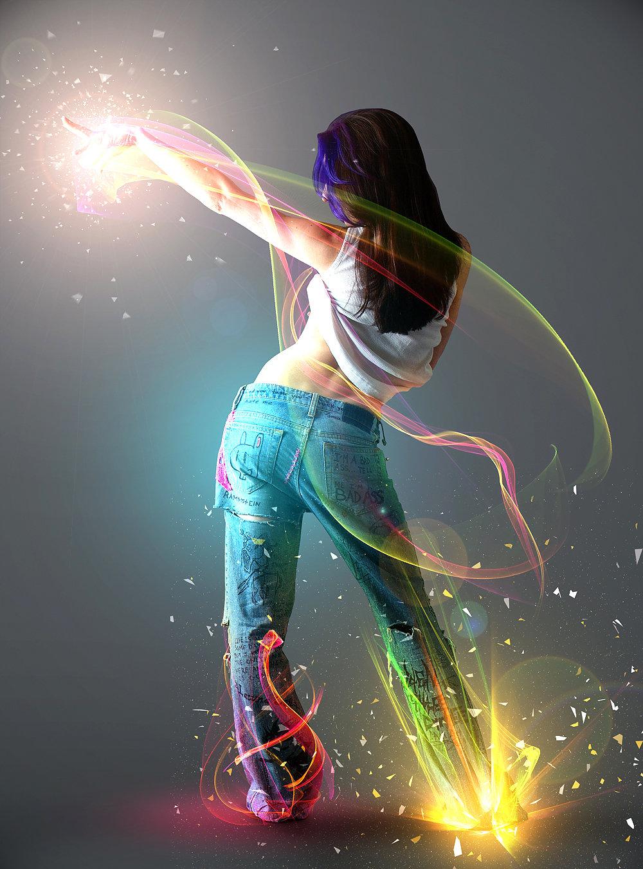 Картинка девушка танцует арт