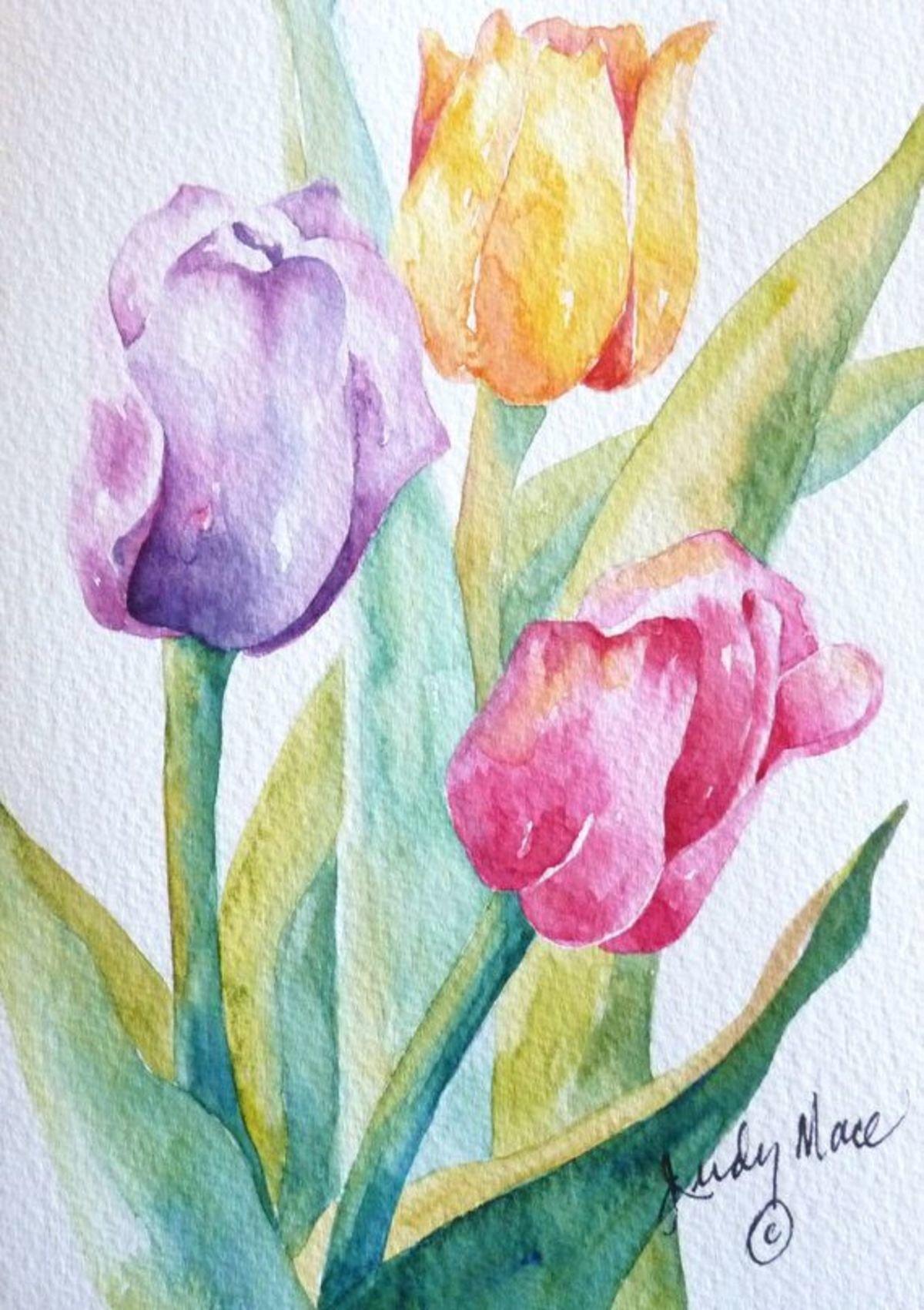 Тортов юбилеем, открытка нарисованные тюльпаны