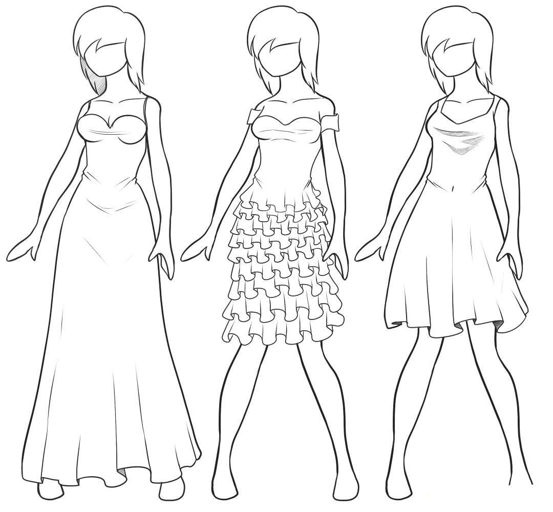 картинки красивые платья карандашом поэтапно устройства получим