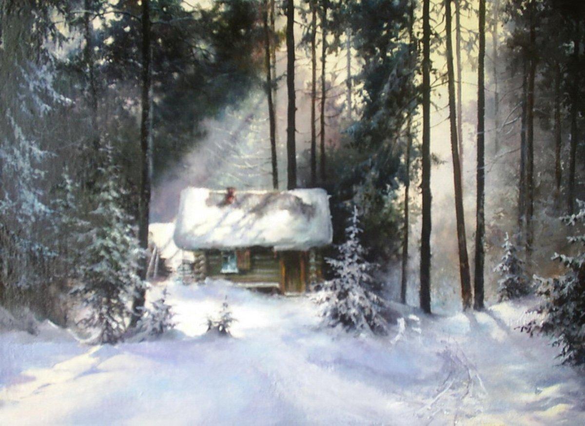 кадре анимационная картинка домик лесника в зимний период каждый