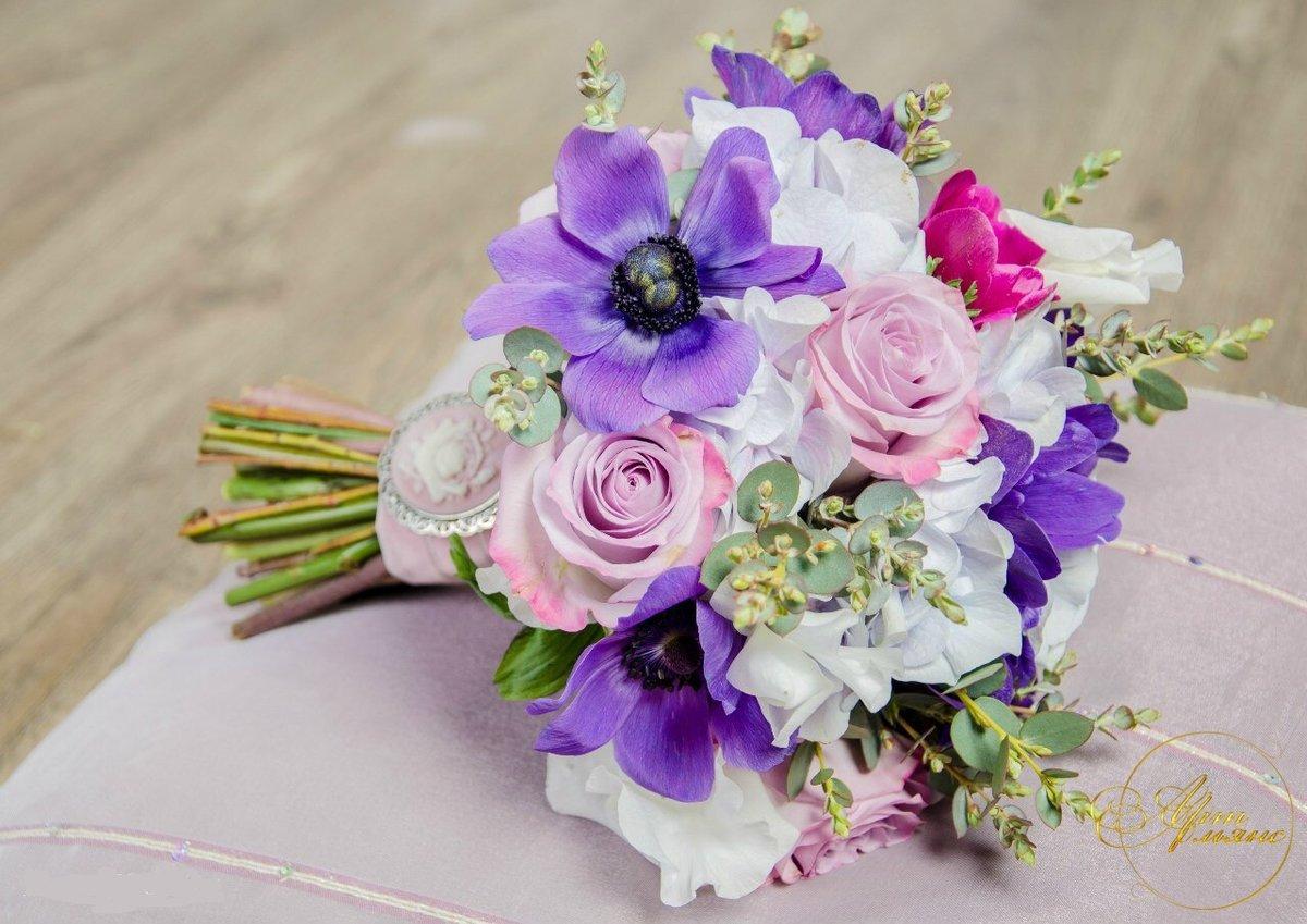 Свадебный букет в фиолетово розовых тонах фото