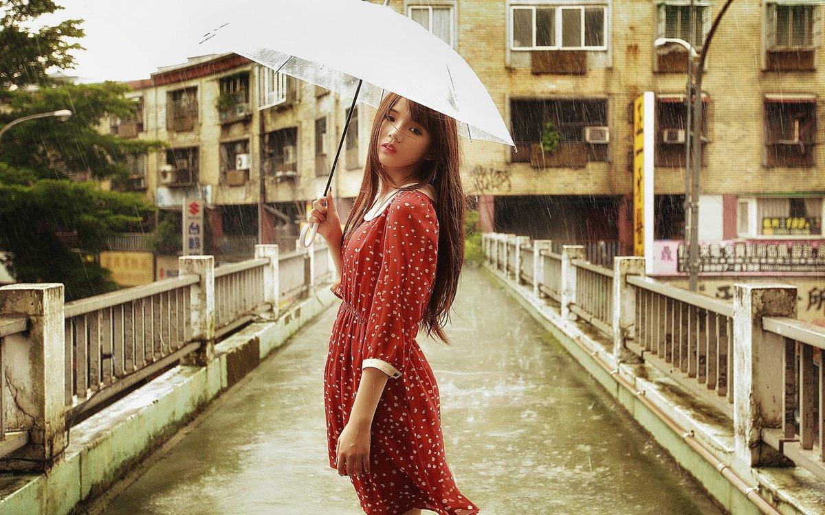 Картинки девушек во время дождя