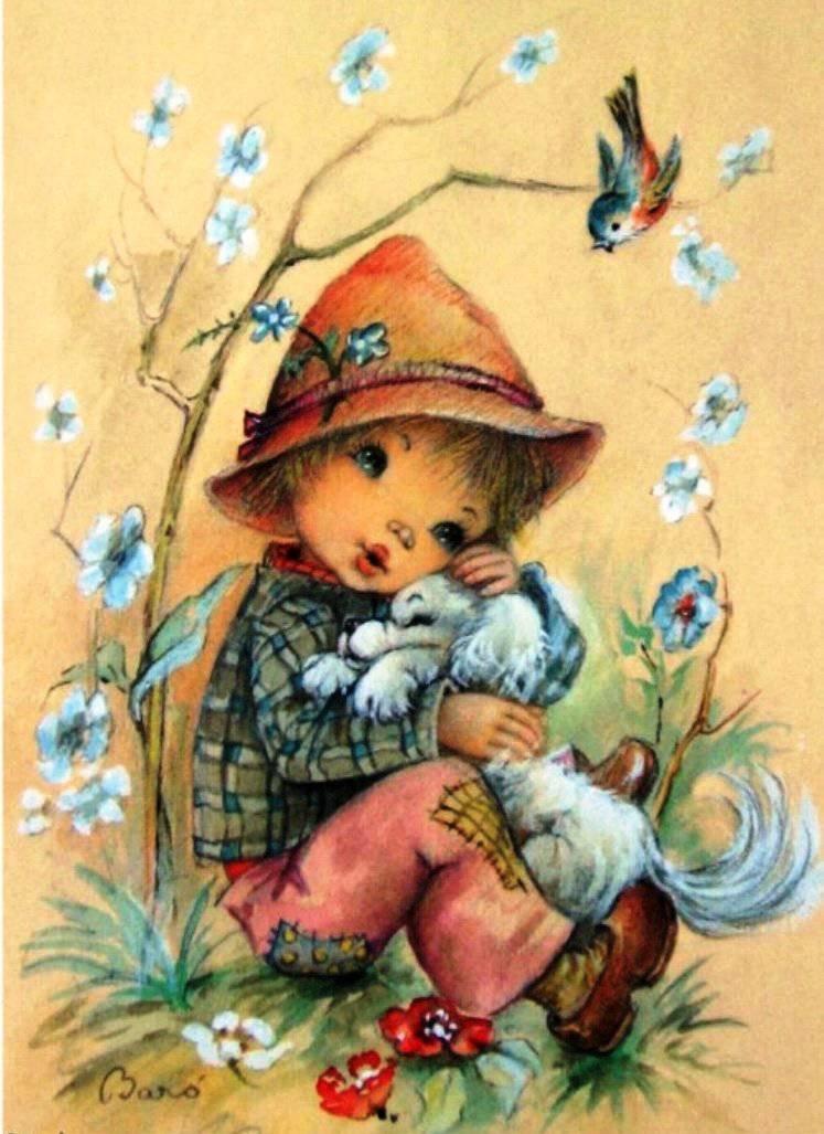 Дружба, детские открытки ретро с днем рождения