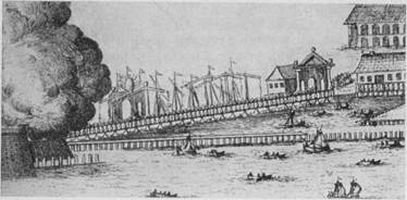 Наплавной деревянный мост, соединявший Петропавловскую крепость с Троицкой площадью. Фрагмент гравюры Г. де Витта по рисунку П. Пикарта. 1714 г.