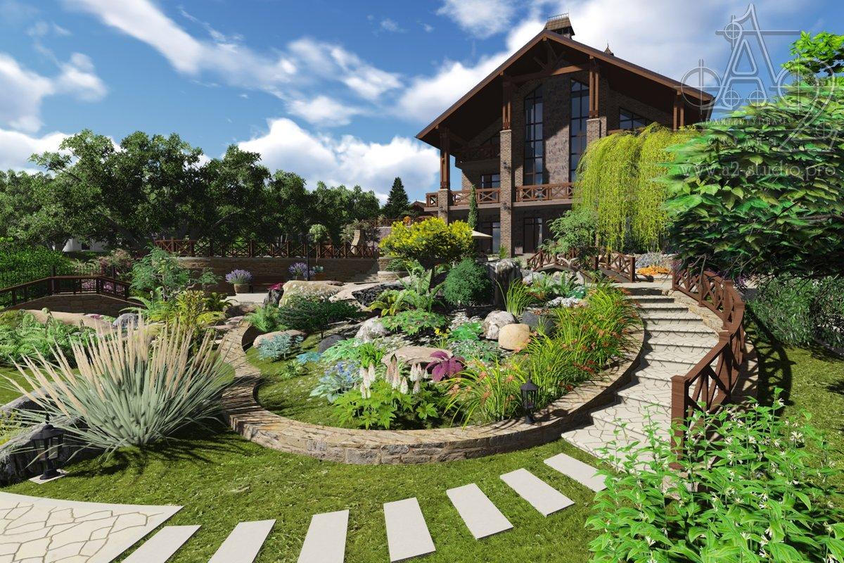 ландшафтный дизайн загородного дома фотогалерея для