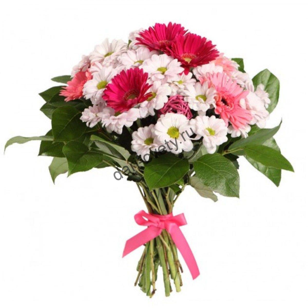 Букет хризантемы белые и розовые цветы, доставка цветы