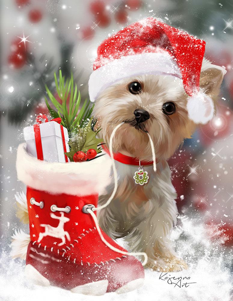 Открытка новый год с собакой