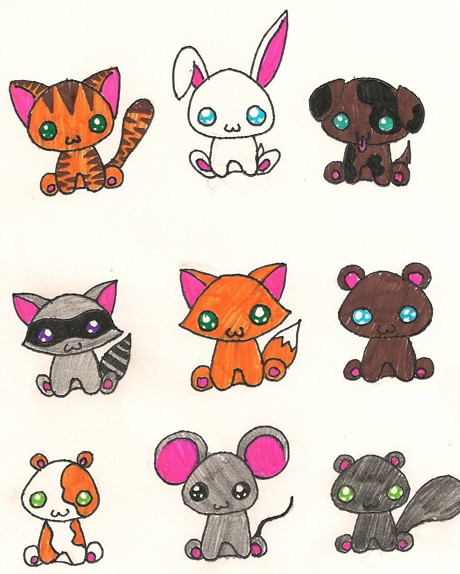 Милые картинки животных рисунок легкие