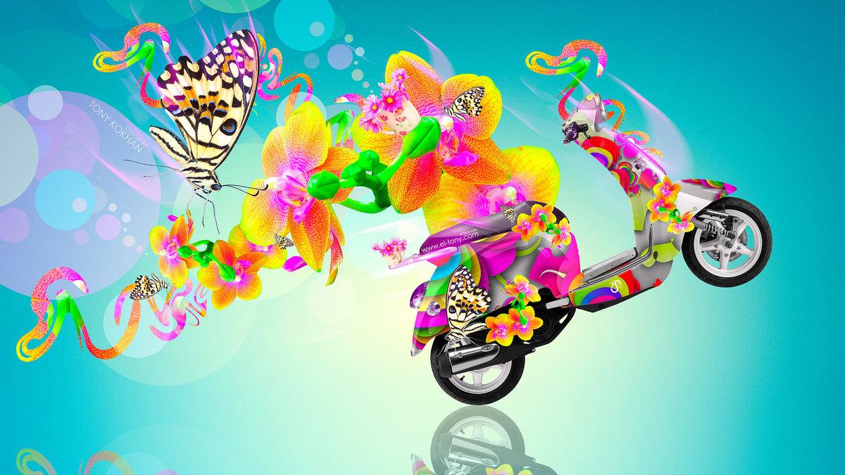Captivating MiniMoto Velocifero Side Fantasy Flowers Butterfly Bike 2014