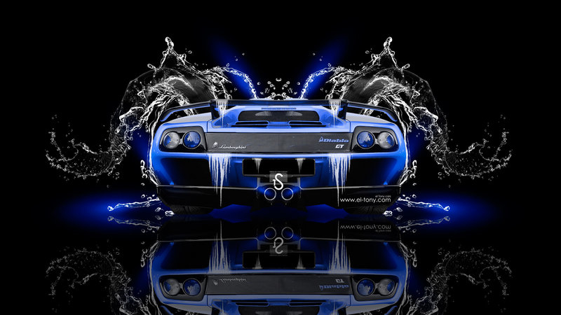 Lamborghini Diablo Back Super Water Car 2014 Blue
