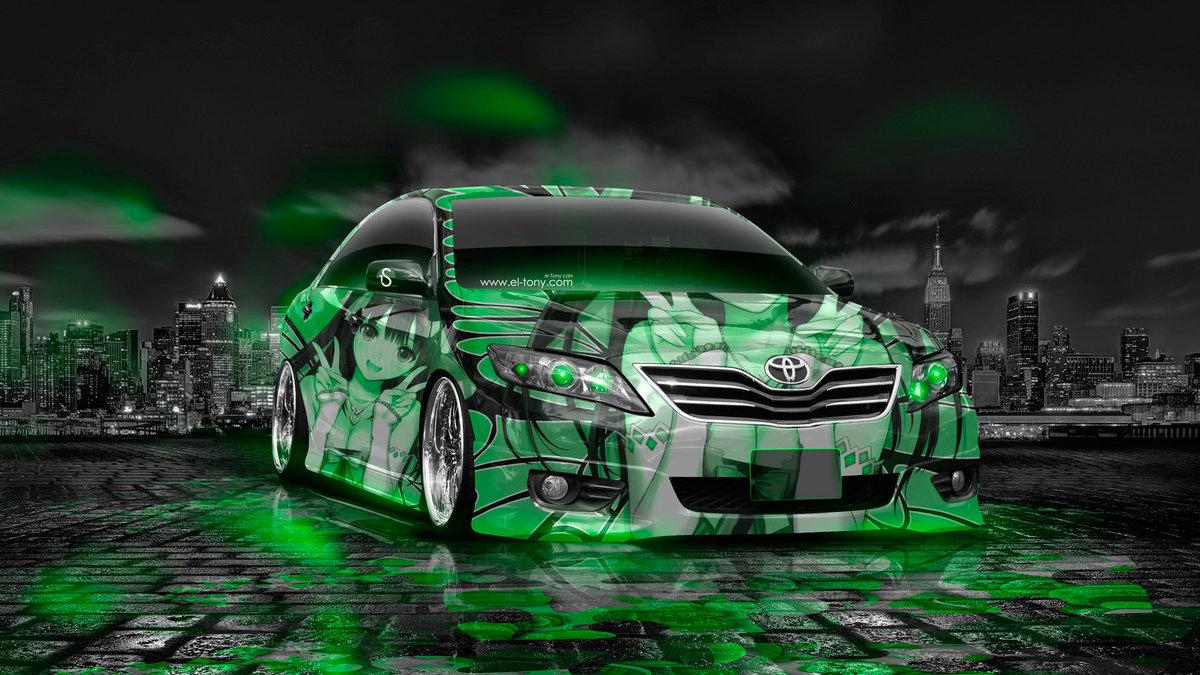 Toyota Camry Tuning Anime Girl Aerography Car 2014