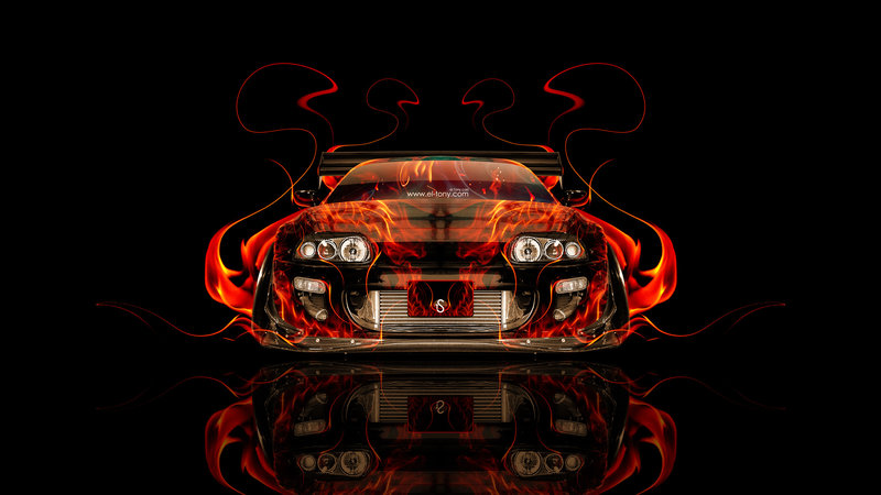 Toyota Supra JDM Tuning Front Fire Abstract Car