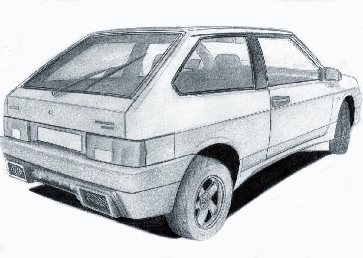 Картинки машины карандашом легкие