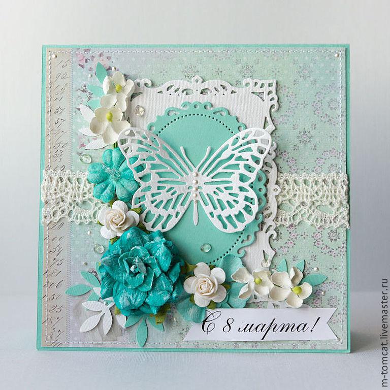 День почты, свадебные открытки скрапбукинг в бело мятных тонах