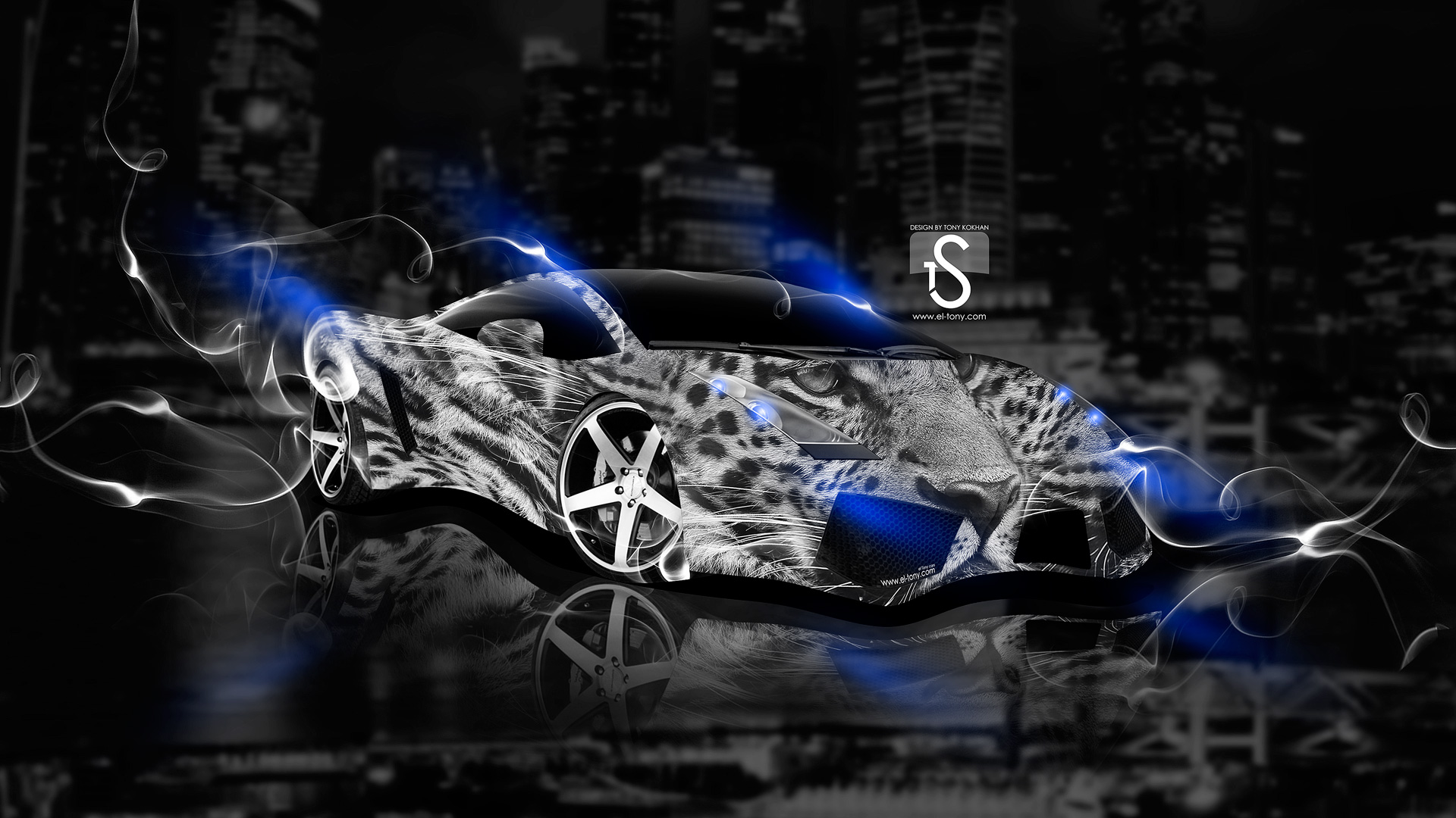 Lamborghini Gallardo Fantasy Leopard Smoke Car 2013 Blue Neon Design