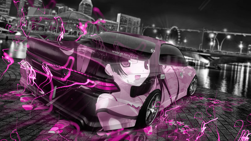 Toyota Mark2 JZX90 JDM Tuning Anime Girl Aerography