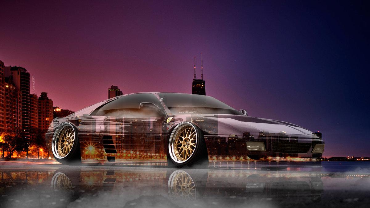 Ferrari 348 Tuning 3D Crystal City Night Smoke