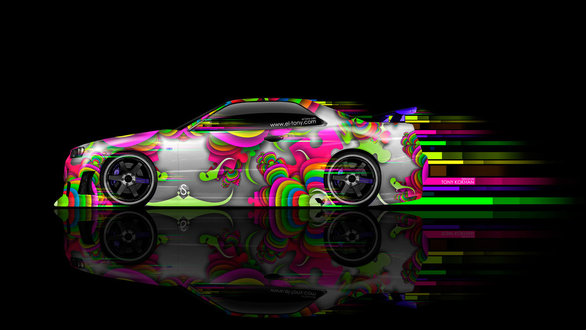 Nissan Skyline GTR R34 JDM Side Super Abstract
