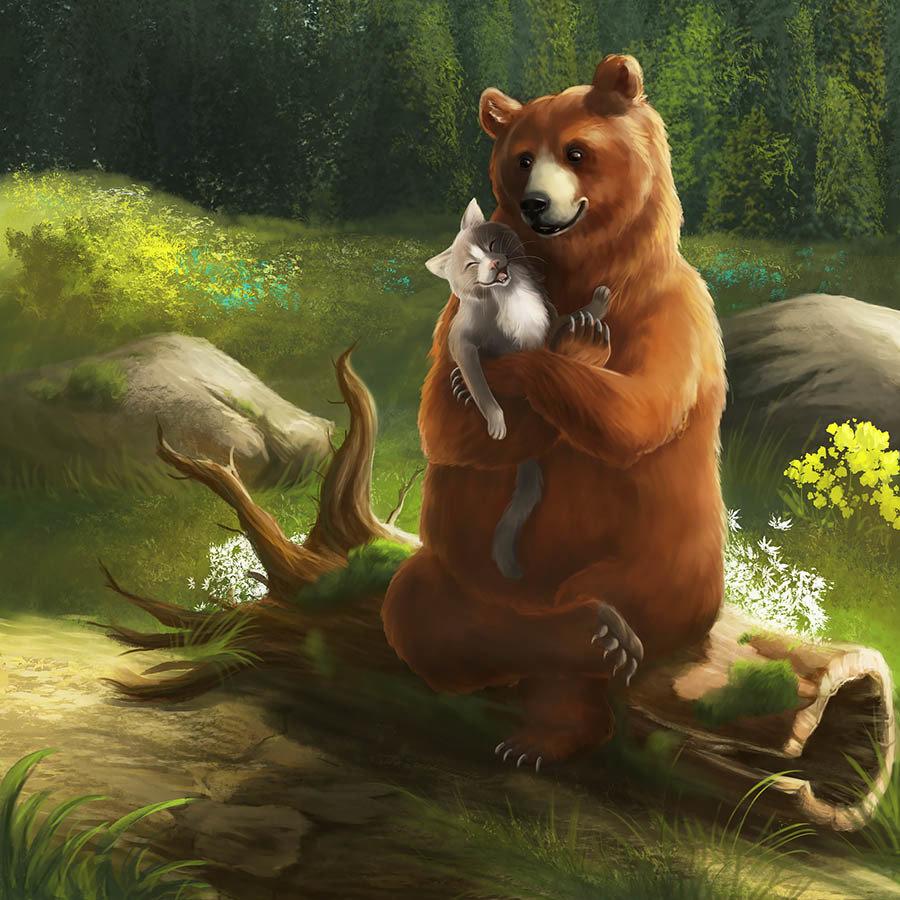Внучкой бабушку, прикольные картинки медведь с лисой