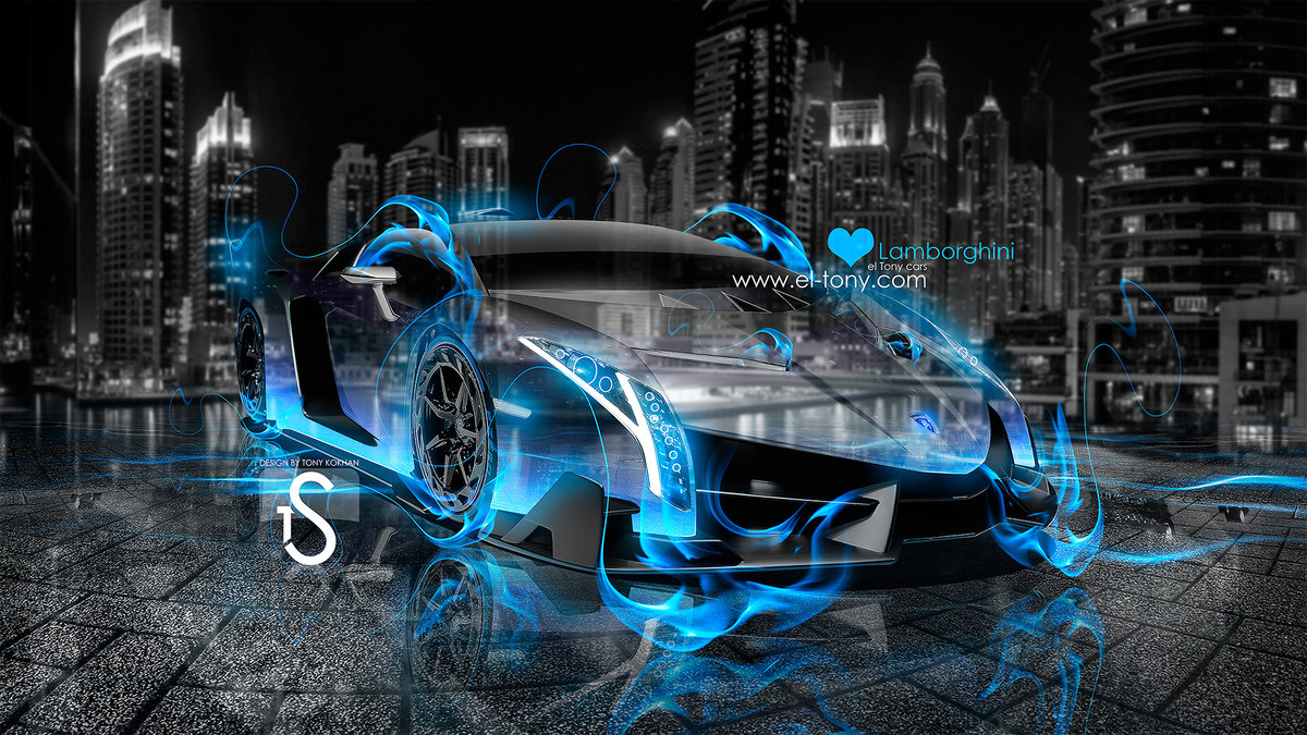 Lamborghini Veneno Blue Fire City Car 2013 Blue Neon Hd Wallpapers