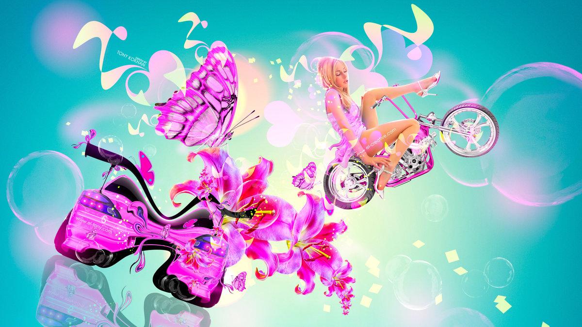 Fantasy Girl Moto Bike Fly Mix Flowers Nissan
