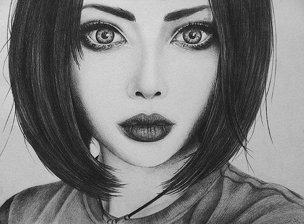 Девочка с каре рисунок карандашом